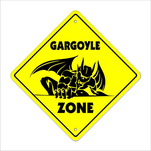 Gargoyle Crossing Sign Zone Xing | Indoor/Outdoor | 17' Tall Plastic Sign water fountain statue fantasy myth carved stone