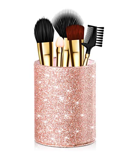 Onlyesh Pen Holder, Pencil Cup Desk Glitter Bling for Women Girls, Luxury Makeup Brush Holder Large Pu Leather Multi-Functional Organizer Cup, Gift for Office, Classroom, Home (Rose Gold)