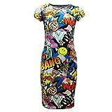 A2Z 4Kids®, vestiti da bambina, con stampa murales/fumetti, stile pattinatrice; leggings, vestito lungo fino al ginocchio, top corto e gonna Midi Dress Comic Book 13 Anni