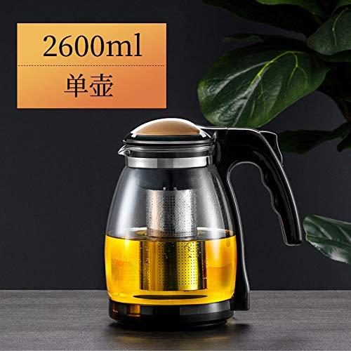 Tetera de acero inoxidable de vidrio con filtro de acero inoxidable removible de enjuague de gran capacidad 1000 ml Maceta individual 2600 ml.