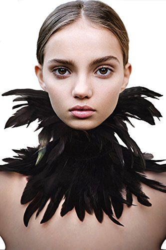 TOOKY Gothic Victorian Natural Feather Choker Neck Wrap Collar Halloween (Black)