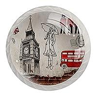 キャビネットノブ4個クリスタルガラスプルハンドルBrickwallロンドンの要素 家具のドアまたは引き出しを開く場合