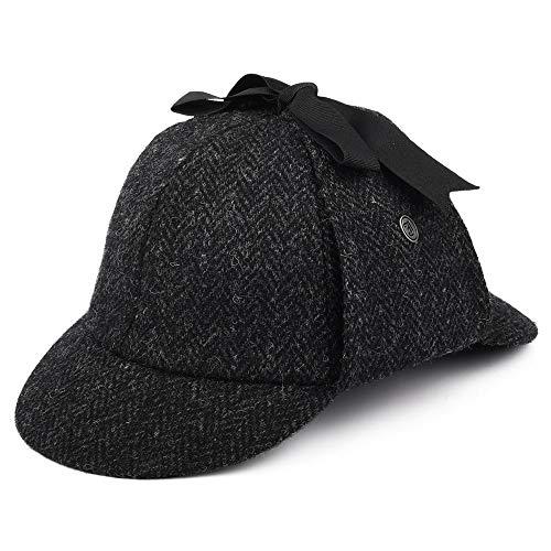 Jaxon & James Sherlock Holmes Harris Tweed Deerstalker Hut - Schwarz-Anthrazit - XL