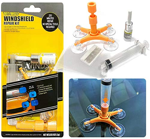 Auto Reparaturset für Windschutzscheiben - Windschutzscheiben Reparaturset Werkzeug with Pressure Syringes for Fix Windshield Chips, Cracks, Bulls-Eye, Star-Shaped and Half-Moon Cracks
