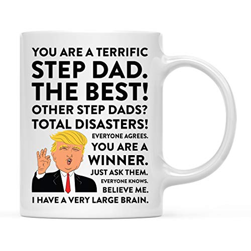 Andaz Press Funny President Donald Trump 11oz. Coffee Mug Gift, Terrific Step Dad, 1-Pack, Hot Chocolate Christmas Birthday Drinking Cup Republican Political Satire For Family In Laws