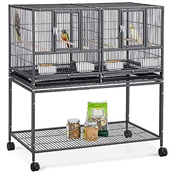 Yaheetech Cage d'elevage pour Oiseaux avec Deux Espaces Divisés Cage pour Petit Oiseaux Exotiques Canaris Madarin Perruche avec Mangeoires Perchoirs 2 Portes Support Roulant 95 x 45 x 105 cm