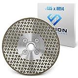 Disco de diamante SEDION ® 125 mm x M14 - disco de corte y disco de desbaste para baldosas duras, gres porcelánico, gres, granito, hormigón, etc. - disco de corte de diamante 125 - Sedion galvánica