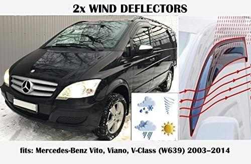 Mrp Windabweiser, kompatibel mit Mercedes Benz Vito Viano V-Klasse W639, Mercedes W639, 2003 2004 2005 2006 2007 2008 2009 2010 2011 2012 2013 2014 Acrylglas Seitenblenden PMMA