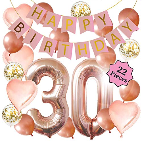 30th Birthday Decorations - Birthday Decorations: 40 Inch 30th Gold Balloons, Pink and Gold Happy Birthday Decorations for Women, Happy Birthday Banner, Confetti Balloons, Rose Gold Heart Balloons (22