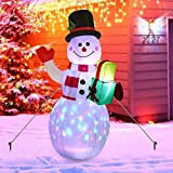 ZQYX Pupazzo di Neve Gonfiabile Natalizio Illuminato Alto 4,92 Piedi, Decorazioni giganti da Giardino gonfiabili con luci a LED rotanti, per Decorazioni Natalizie all'aperto (soffiatore Incluso)