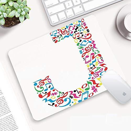 Comodo Tappetino per Mouse,Lettera J, J Tipografia in Artful Design Note musicali Stile grafico ABC Font Lingua Tema, Mu,Superficie Liscio, Base in Gomma Antiscivolo per PC, Laptop e Notebook 25x32 cm