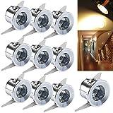 10pcs 1W LED Mini Spot Plafonnier Affichage Placard Encastrable Lampe Blanc Chaud 3000K 230V
