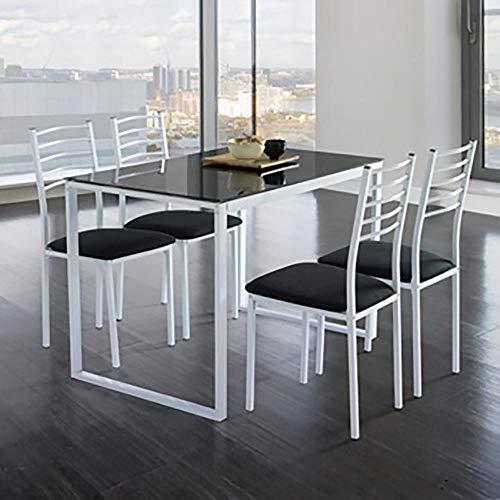 Kit Closet Conjunto Noa de Mesa de Cocina + 4 sillas Cristal Negro