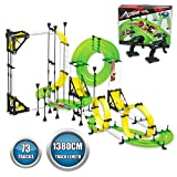 Autoflier Hand Rolling Slot Car Race Track Set, Patented Hand Cranked Remote Control Speed Booster, R/C Race Car Playset with Free Assembly Stunt Track for Kids Age 6+