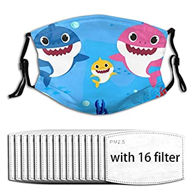 Baby Shark Reusable Activated Carbon Filter Face Shield With 16 Filter Replaceable for Men Women