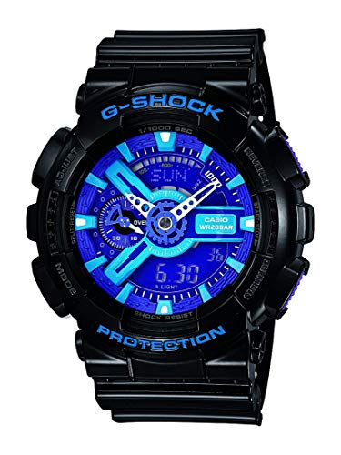 Casio Men's XL Series G-Shock Quartz 200M WR Shock Resistant Resin Color:Black, Blue and Purple (Model GA-110HC-1ACR)