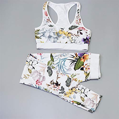Set de Yoga Set Floral Women Sport Traje Juego de 3 Piezas Gimnasio Gimnasio Mujer Sport Disfraz Sport Top + Pantalones Ropa de Fitness (Color : White, Size : M)
