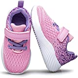 DOTACOKO Little Girls Velcro Sneakers Fashion Toddler Girl Tennis Shoes Breathable Mesh Baby Kids Casual Running Shoes Lightweight Outdoor Walking Sports Shoes for Girls Pink Size 7