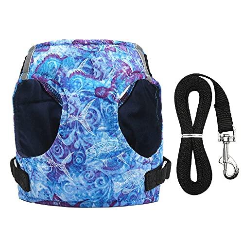 Arnés para perros Dog Harness Vest Collar with Leash Set Pet Walking Harness Adjustable Cat Reflective for Puppy Small Medium Large Dog Arnés para gatos (Color : Blue, Size : XS)