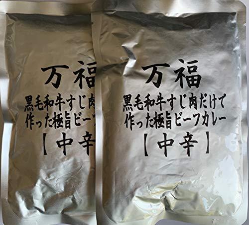 【12時まで当日出荷!】キャンペーン 万福 レトルトの匠が作った黒毛和牛すじ肉100g入りビーフカレー230g (中辛2袋)