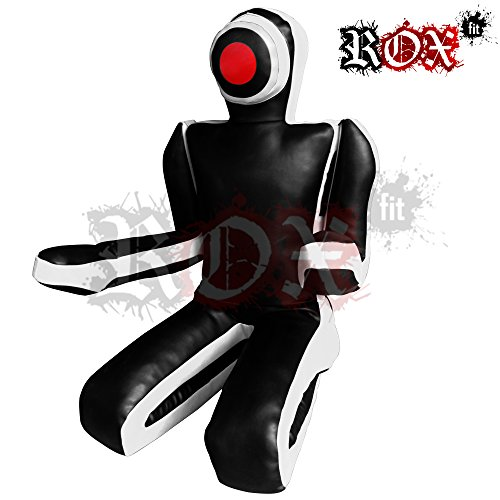 ROX Fit Passform MMA Judo Boxsack Grappling Dummy - Sitzposition, Submission Stil, Double Face, MMA Dummy, Stanz BJJ Training Bag 5 ft & 6 ft Schwarz / Weiß (ungefüllt) (6 Foot (1.8 meters) ungefüllt)