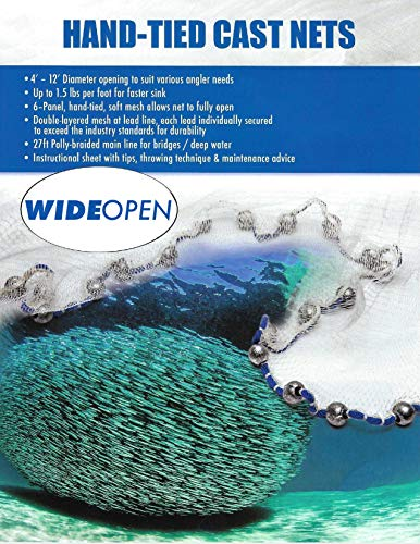 Wide Open Mesh Casting Net 1lb per ft with Round Leads Fishing Bait Sardine Pilchard 8ft 8lb 14