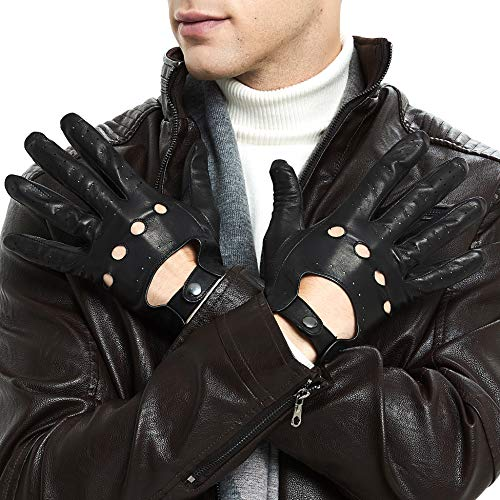 Mens Smart Soft And Thin Excellent Quality Italian Lambskin Touch Screen Leather Driving Gloves For Men