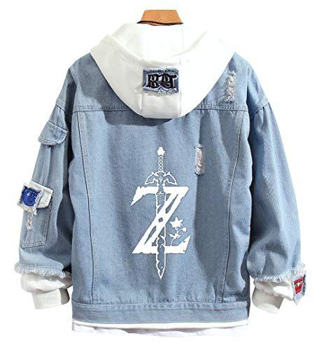 YOLEOLY Anime The Legend of Zelda Denim Jacket Hoodie Sweatshirt Hooded Adult Cosplay Costume