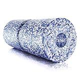 BODYMATE Faszienrolle Weich, Trainingsrolle zur Eigenmassage mit umlaufender Rille, Ganzkörper-Massagegerät für Einsteiger, mit glatter Oberfläche, inkl. eBook, 35 x 14 cm (L x Ø), in Blau/Weiß