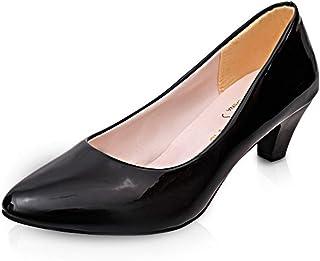パンプス 大きいサイズ 太ローヒール 歩きやすい 履きやすい ミドルヒール ラウンドトゥ 結婚式 幅広 冠婚葬祭 フォーマル エナメル ママシューズ ブラック 黒