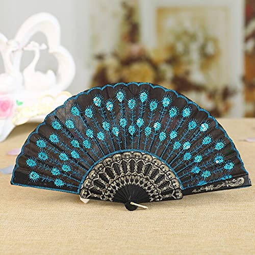TonyJameJPStore Decorative Fans Best Chinese Style Dance Wedding Party Lace Silk Folding Hand Held Flower Fan Folding Hand Held Flower Fan#p2