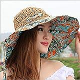 Sombrero De Sol Para Mujer,Sombrero De Sol De Moda Para Mujer Sombrero De Paja De Playa De Vacaciones Mujer Arco Estampado Hueco Sombrero De Ala Grande De Verano Pliegue Protección Uv Sombrero Flex
