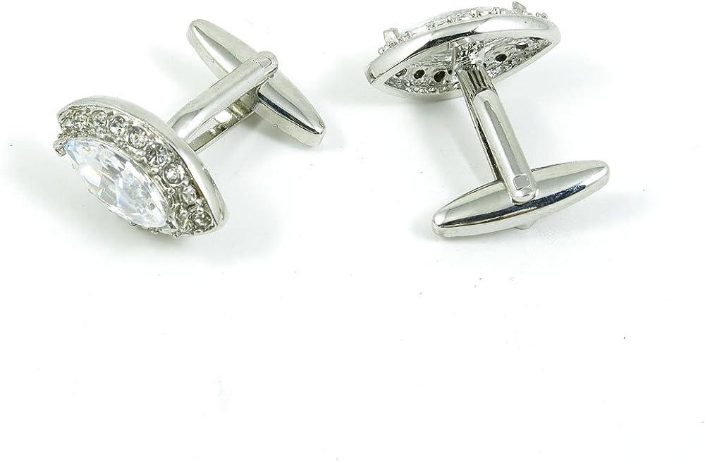 Cufflinks Cuff Links Fashion Mens Boys Jewelry Wedding Party Favors Gift ABZ042 Zircon Crystal Oval