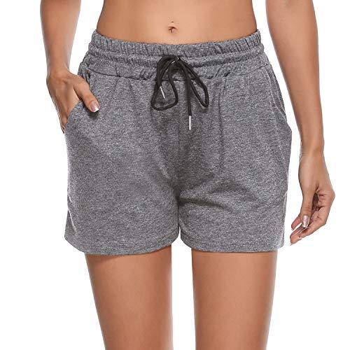 Sykooria Damen Schlafanzughose Kurz Baumwolle Damen Sportshorts Kurze, Pyjamahose Beiläufige Kurz Sport Hose mit Taschen und Kordelzug