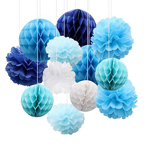 Bola de flores de papel de 12 piezas, bolas de panal de tejido, decoración encantadora para fiesta, boda, habitación de bebé, cumpleaños (azul)