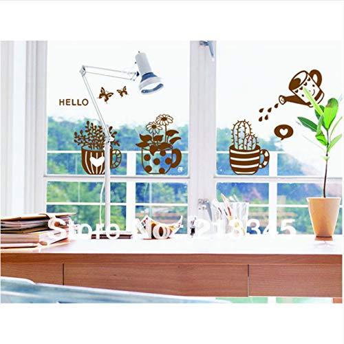 Cczxfcc Cactus bloempotten planter muursticker decoratieve glazen deuren en een balkon restaurant sticker