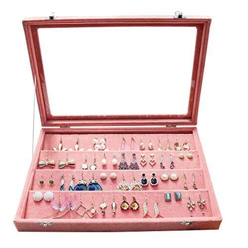 Wuligirl Velvet Clear Lid Earring Organizer Storage Earrings Box Holder Case for Jewelry Display Showcase Stackable Lockable(Peach Earring)