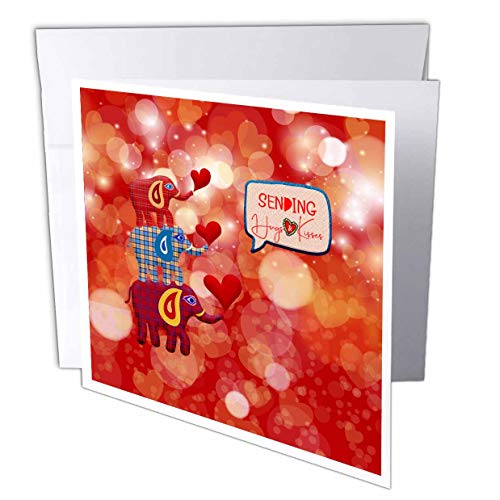 3dRose Beverly Turner Valentine Design - Image of Stacked Plaid Elephants and Hearts, Sending Hugs Heart Kisses - 12 Greeting Cards with envelopes (gc_306377_2)