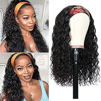 Headband Wig Human Hair Water Wave for Black Women None Lace Front Wigs Brazilian Virgin Hair Wet and Wavy Curly Headband Wigs Human Hair Glueless Machine Made Wigs 150% Density 16 Inch