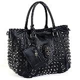 UTO Women Skull Tote Bag Rivet Studded Handbag PU Leather Purse Shoulder Bags 2 Pcs Wallet Strap A Black 382