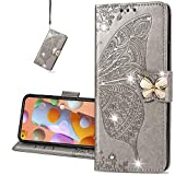 COTDINFORCA Custodia per Oppo A92, Oppo A72 Cover Crystal Bling PU Leather Card Slot Magnetic Lock Phone Case per Oppo A52 / A72 / A92 Protettiva Case Diamond Butterfly Gray SD