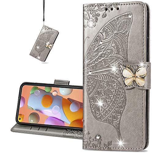 COTDINFORCA case for Huawei P40 Lite 5G Hülle,Diamant Kristall Schutzhülle Magnet Handytasche Kartenfächer Lederhülle Flip Handyhüllen für Huawei NOVA 7 SE Cover Diamond Butterfly Gray SD
