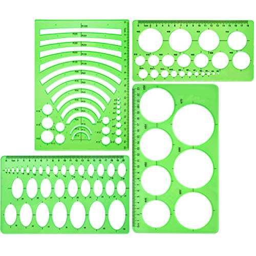 Boao 4 Pieces Template Plastic Rulers Circle Oval Circle Radius Drawing Templates for Office and School Supplies (Clean Green)