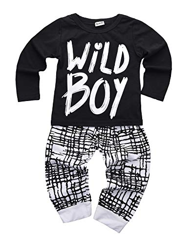 Newborn Baby Boys Clothes Wild Boy Letter Print T-Shirt Tops and Pants Outfits Set Autumn Winter(01 black,18-24 months)