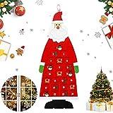 Hook Adventskalender zum Befüllen Kinder Stoff, Adventskalender 2020 Santa Aufhängen mit 24 Täschchen zum Befüllen, Weihnachtskalender zum Befüllen, XXL Adventskalender Taschen. (Rot)