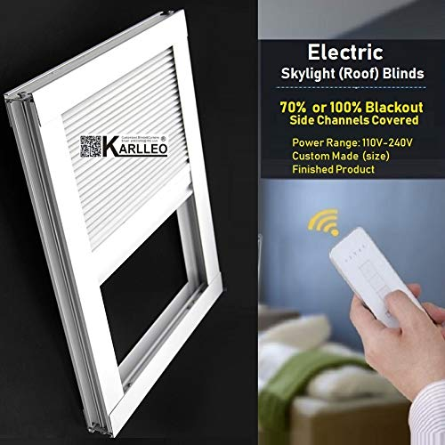 """Motorized Skylight Roof Window Cellular Honeycomb Blackout Blinds Curtain,Website Price=(1pc,Motorized Control,Size:39"""" W x 39"""" L) Contact Us Customize Size,Or Manual"""