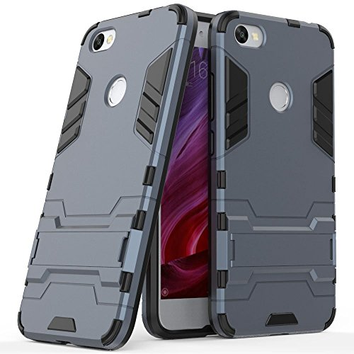 Funda para Xiaomi Redmi Note 5A / Redmi Note5A Prime (5,5 Pulgadas) 2 en 1 Híbrida Rugged Armor Case Choque Absorción Protección Dual Layer Bumper Carcasa con Pata de Cabra (Azul Negro)