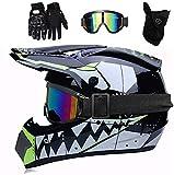 YXLM Casco de motocross MX para niños, casco de moto ATV, casco D.O.T, certificado, casco de tiburón, multicolor con guantes, casco de motocross infantil, casco integral (negro)