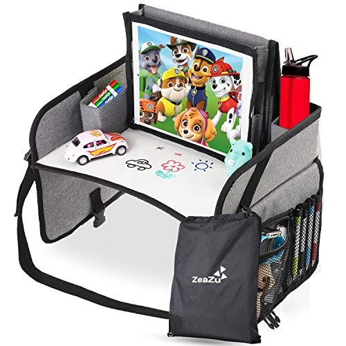 Kids Travel Tray with Bag - Foldable Compact Lap Car Seat Table Desk with Dry Erase Board, iPad...