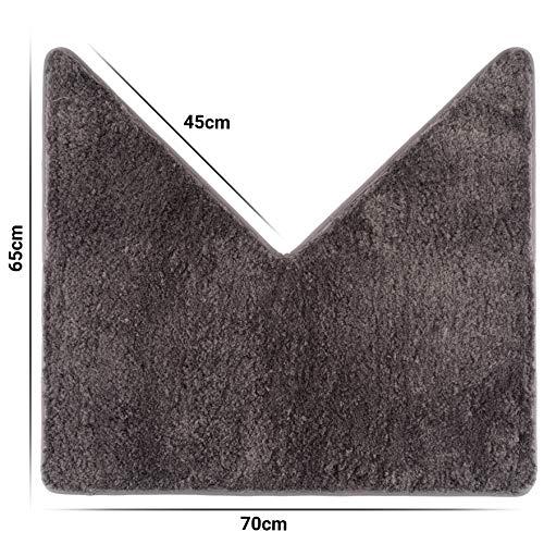 Santec Hochflor-Badteppich aus Mikrofaser - als Vorleger für Eckduschen, mit Rutschfester Unterseite (Anthrazit)